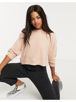 Miss Selfridge ribbed crew neck sweatshirt in tan