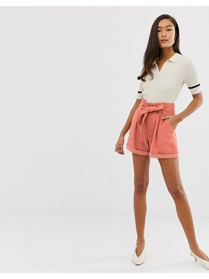 Miss Selfridge shorts with paperbag waist in pink