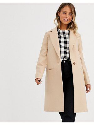Miss Selfridge single breasted tailored coat in camel-brown