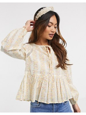 Miss Selfridge smock blouse in ditsy floral-cream