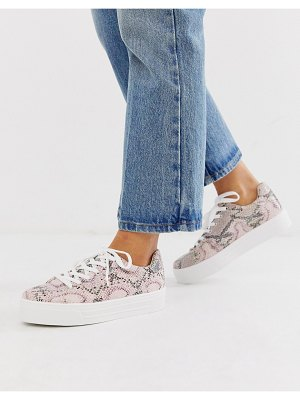 Miss Selfridge sneakers in pink snake