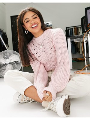 Miss Selfridge sweater with pointelle stitch in pink