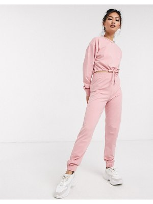 Miss Selfridge sweatpants in pink two-piece