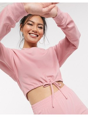Miss Selfridge sweatshirt with drawstring hem in pink two-piece