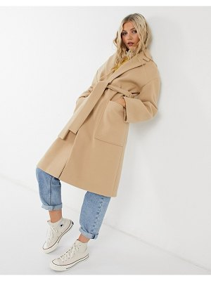 Miss Selfridge tailored coat with belt in camel-tan