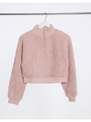 Miss Selfridge teddy sweatshirt in blush-beige