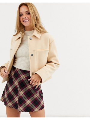 Miss Selfridge trucker jacket in camel-beige