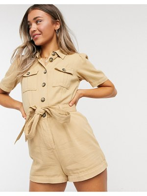 Miss Selfridge utility romper in sand-beige