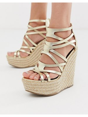Miss Selfridge wedge sandals in gold