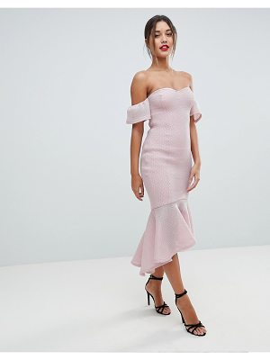 MISSGUIDED Bardot Fish Tail Midi Dress