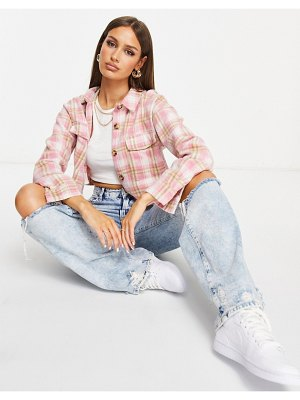 MISSGUIDED boxy cropped shacket in pink check