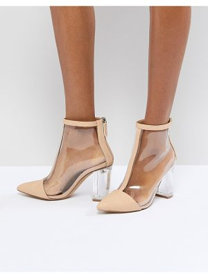 MISSGUIDED Clear Heeled Ankle Boot