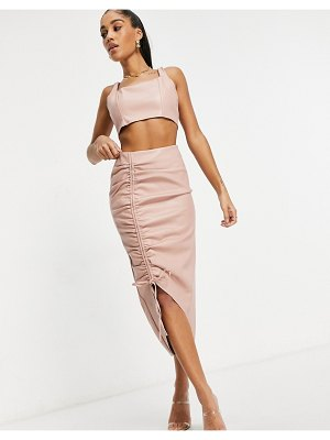 MISSGUIDED faux leather midi skirt set with ruched detail in blush-pink