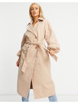 MISSGUIDED formal longline coat with balloon sleeves in tan-brown
