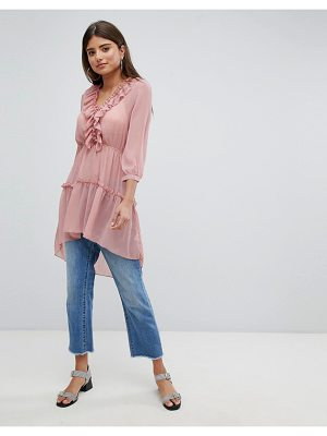 MISSGUIDED Frill Detail Longline Blouse