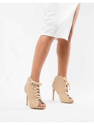 MISSGUIDED lace up peep toe boots