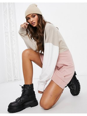 MISSGUIDED oversized color block sweater dress-neutral