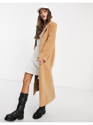 MISSGUIDED oversized longline coat in camel-neutral
