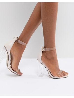 MISSGUIDED Clear Block Heeled Sandal