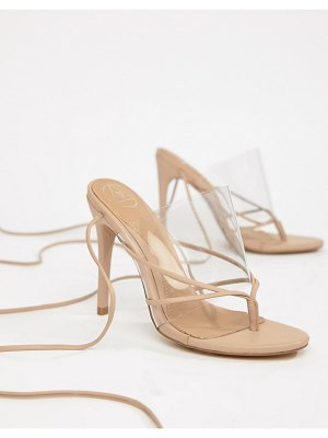 MISSGUIDED Clear Lace Up Toe Post Sandal