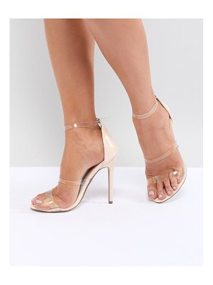 MISSGUIDED Clear Three Strap Heeled Sandals