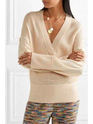 Missoni crepe de chine-paneled wool-blend sweater