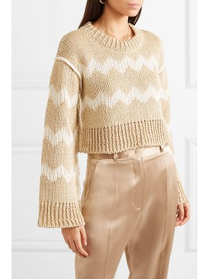 Missoni cropped intarsia hemp and wool-blend sweater