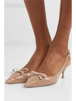 Miu Miu bow-embellished patent-leather slingback pumps