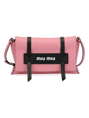 Miu Miu Calf Leather Logo Flap Crossbody Bag