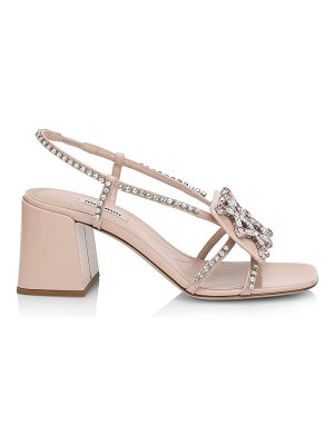 Miu Miu crystal leather block heel sandals