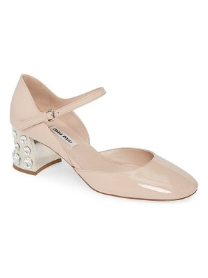 Miu Miu embellished block heel mary jane pump