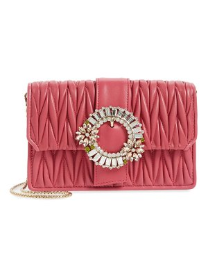 Miu Miu embellished matelasse leather crossbody bag