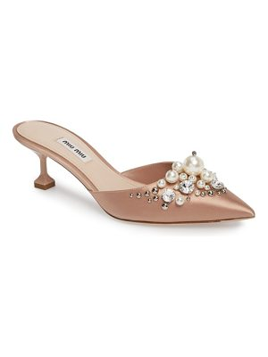 MIU MIU Embellished Pointy Toe Mule
