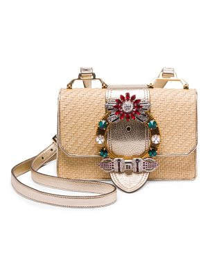Miu Miu embellished straw and leather crossbody bag