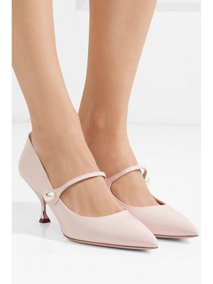 Miu Miu faux pearl-embellished patent-leather pumps
