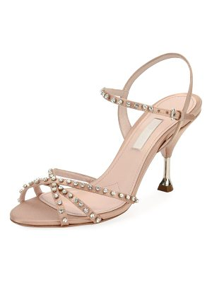 Miu Miu Jeweled Strappy Suede Sandal