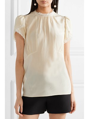 Miu Miu lace-trimmed pintucked silk crepe de chine blouse