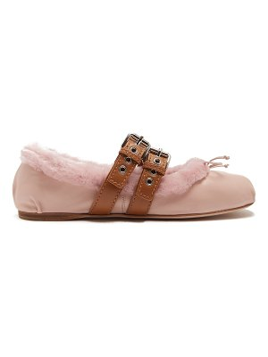 Miu Miu Leather and shearling ballet flats