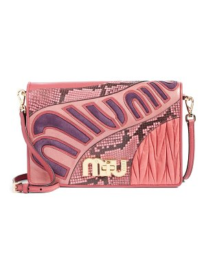 Miu Miu madras goatskin leather shoulder bag with genuine python trim