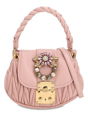 Miu Miu Mini coffre crystal buckle leather bag
