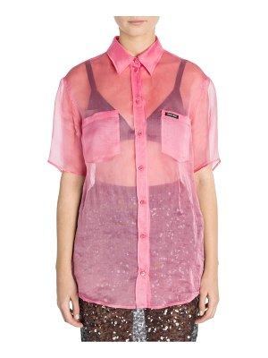 Miu Miu short sleeve organza button-front shirt