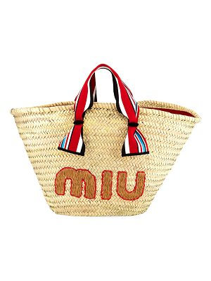 Miu Miu Straw Ribbon-Handle Shopper Tote Bag