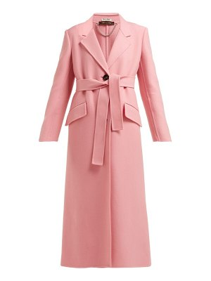 Miu Miu tie waist single breasted wool coat