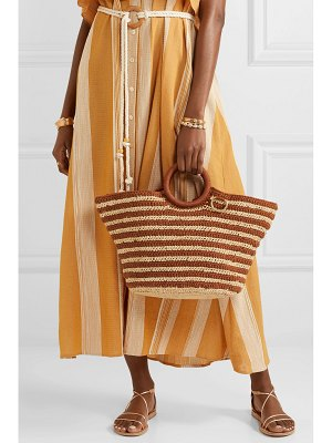 Mizele sun striped crocheted raffia and cotton tote