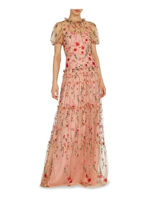 ML Monique Lhuillier Bridesmaids floral embroidered a-line gown