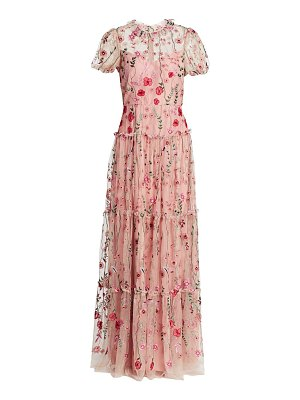 ML Monique Lhuillier Bridesmaids floral embroidered gown