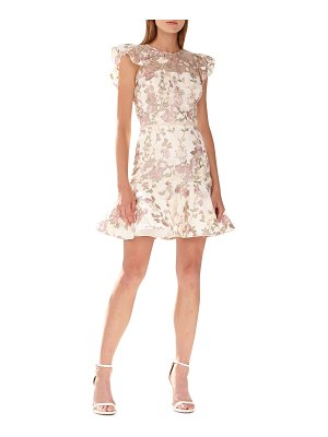 ML Monique Lhuillier Bridesmaids Floral-Embroidered Mesh Illusion Cocktail Dress