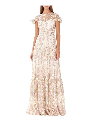 ML Monique Lhuillier Bridesmaids Floral-Embroidered Short-Sleeve Mesh Dress