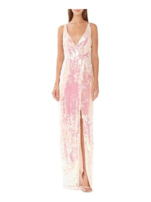 ML Monique Lhuillier Bridesmaids sequin surplice column gown