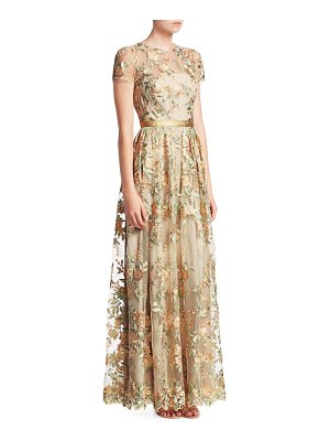 ML Monique Lhuillier Bridesmaids sheer floral overlay satin gown